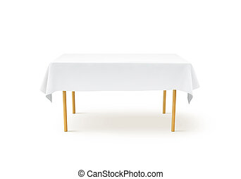 Bank white tablecloth mockup, clipping path, 3d rendering....