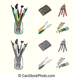 Bank with brushes, a drawing board, an easel with a canvas, paint knives. Artist and drawing set collection icons in cartoon, monochrome style vector symbol stock illustration .
