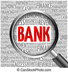 BANK word cloud with magnifying glass