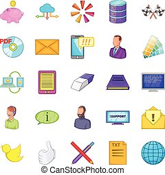 Bank worker icons set, cartoon style