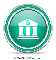 bank, zielony, połyskujący, sieć, ikona