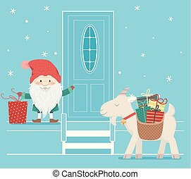 banke, dør, jul, illustration, tomte, mand