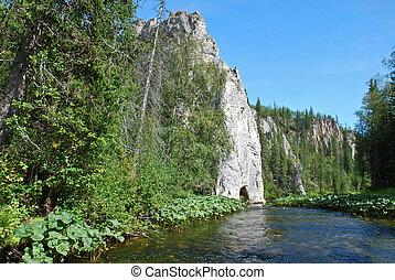 banken, river., klippen