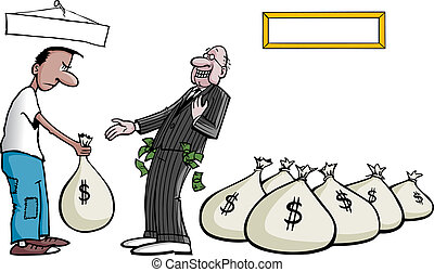 Banker Bailout - Cartoon of a taxpayer bailing out a...