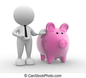 Banker - 3d people - man, person with a piggy bank.  Banker