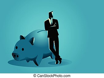 Business concept vector illustration of a businessman leaning on giant piggy bank