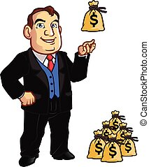 Banker - Vector Illustration of Rich Man with Bags of Money