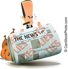 Illustration of a cartoon banker character hiding behind newspaper icon