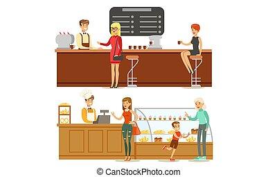 banketbakkerij, klanten, vector, mensen, mannelijke , portie, winkel, aankoop, toetjes, of, kies, bakkerij, koffie, koffiehuis, illustratie, verkoper
