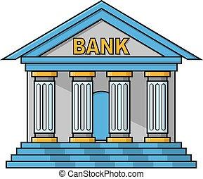 bankgebaüde, abbildung, design