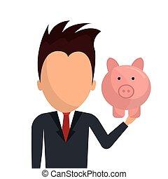 Bank,global economy and money savings