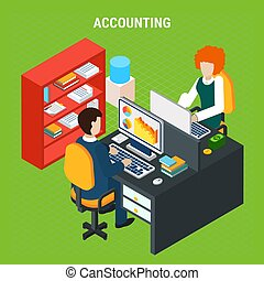 Banking Accounting Isometric Composition