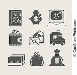 banking and finance set icon