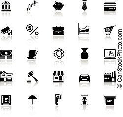 Banking and financial icons with reflect on white background