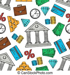 Banking and financial seamless pattern background