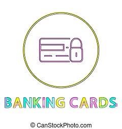 Banking Cards Round Framed Color Line Design Icon