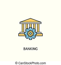 banking concept 2 colored line icon. Simple yellow and blue element illustration. banking concept outline design
