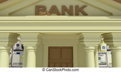 Banking concept 3D - Bank building with dollar and euro...