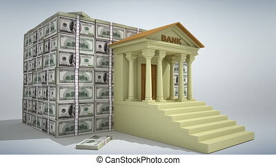 Banking concept 3D - Bank building with dollar banknotes. 3D...