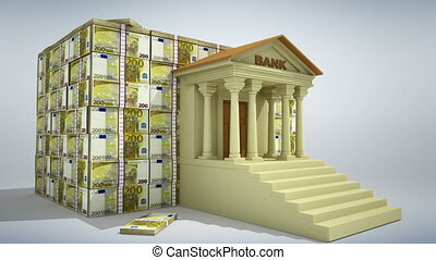 Banking concept 3D - Bank building with euro banknotes. 3D...