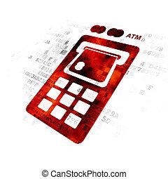 Banking concept: ATM Machine on Digital background
