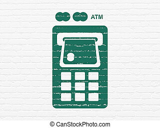 Banking concept: ATM Machine on wall background