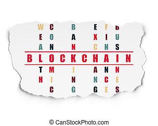 Banking concept: Blockchain in Crossword Puzzle