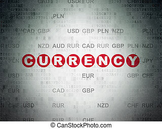 Banking concept: Currency on Digital Data Paper background