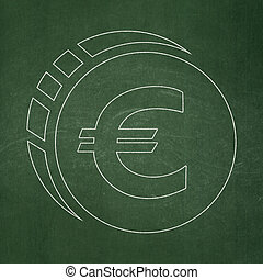 Banking concept: Euro Coin on chalkboard background