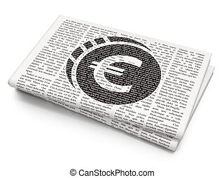 Banking concept: Euro Coin on Newspaper background