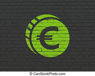 Banking concept: Euro Coin on wall background