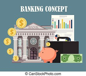 Banking concept in flat design. Vector illustration