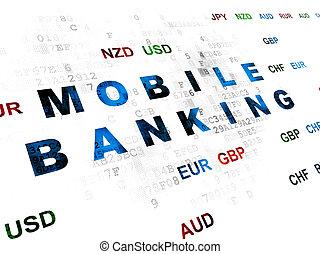 Banking concept: Mobile Banking on Digital background