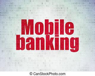 Banking concept: Mobile Banking on Digital Paper background