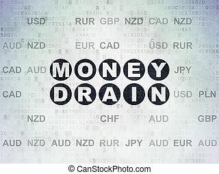 Banking concept: Money Drain on Digital Data Paper background