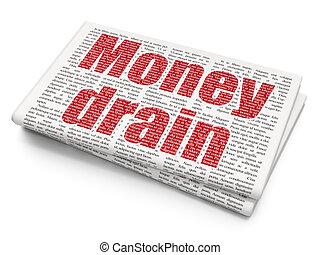 Banking concept: Money Drain on Newspaper background