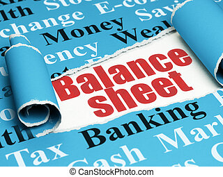 Banking concept: red text Balance Sheet under the piece of torn paper