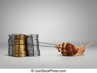 Banking concept snail pulling money, copy space