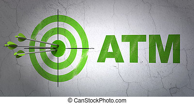 Banking concept: target and ATM on wall background