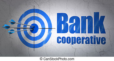 Banking concept: target and Bank Cooperative on wall background