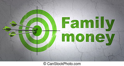 Banking concept: target and Family Money on wall background