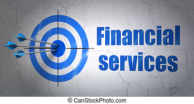 Banking concept: target and Financial Services on wall background