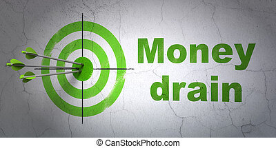 Banking concept: target and Money Drain on wall background