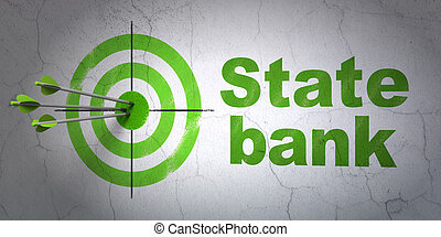 Banking concept: target and State Bank on wall background