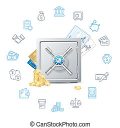 Banking Deposit Concept with Metal Safe. Vector