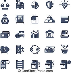 Banking finance money cash vector icons