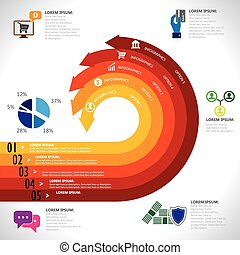 banking, finance, money & e-commerce related infographics vector