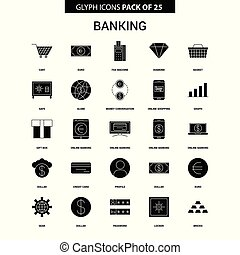 Banking Glyph Vector Icon set