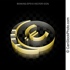Banking icon: Yellow 3d Euro Coin made of paper, transparent shadow, EPS 10 vector.