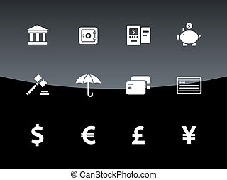 Banking icons on black background.